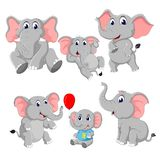 Η συλλογή του ελέφαντα και του ελέφαντα μωρών διανυσματική απεικόνιση