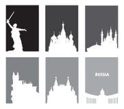 Η συλλογή των γκρίζων τουριστικών αφισών με το λευκό σκιαγραφεί τις ρωσικές θέες Πρότυπα ταξιδιού με το διάστημα για το κείμενο Στοκ εικόνα με δικαίωμα ελεύθερης χρήσης