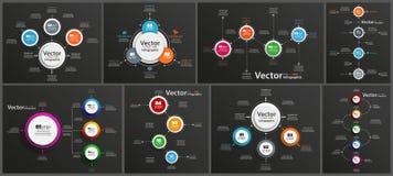 Η συλλογή infographic στο μαύρο υπόβαθρο μπορεί να χρησιμοποιηθεί για το σχεδιάγραμμα ροής της δουλειάς, διάγραμμα, επιλογές αριθ στοκ εικόνες με δικαίωμα ελεύθερης χρήσης