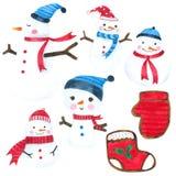 Η συλλογή watercolor χιονανθρώπων υπόβαθρο, χέρι που σύρεται στο άσπρο για τα παιδιά, ευχετήρια κάρτα, περιπτώσεις σχεδιάζει, κάρ απεικόνιση αποθεμάτων