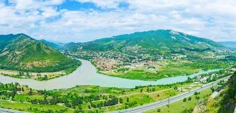 Η συμβολή των ποταμών Mtkvari και Aragvi Στοκ εικόνα με δικαίωμα ελεύθερης χρήσης