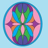 Η συμμετρική σύνθεση, διανυσματικές απεικονίσεις στο λεκιασμένο γυαλί κερδίζει Στοκ φωτογραφία με δικαίωμα ελεύθερης χρήσης