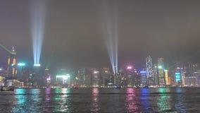 Η συμφωνία των φω'των από την πλευρά λιμενικών πόλεων Tsim Sha Tsui απόθεμα βίντεο
