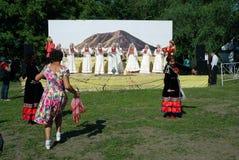 Η συναυλία παρουσιάζει στον εορτασμό Sabantui στη Μόσχα Στοκ Εικόνα