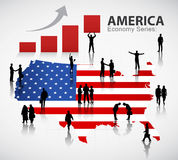 Η συνεργασία για το οικονομικό διάνυσμα επιτυχίας της Αμερικής ελεύθερη απεικόνιση δικαιώματος