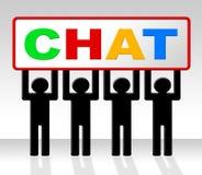 Η συνομιλία που κουβεντιάζει δείχνει τη δακτυλογράφηση και τη συζήτηση ομιλίας Στοκ Εικόνες