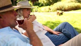 Η συνταξιούχος συνεδρίαση ζευγών στη γέφυρα προεδρεύει του κρασιού κατανάλωσης φιλμ μικρού μήκους