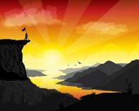 Η συρμένη εικόνα χεριών ενός ορεσιβίου τοποθετεί μια σημαία στο τοπ βουνό σε μια ημέρα δόξας διανυσματική απεικόνιση