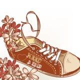 Η συρμένη χέρι αθλητική μπότα μόδας με τα λουλούδια χρειάζεται έναν βαλεντίνο ζευγαριού Στοκ Εικόνα