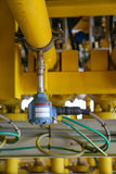 Η συσκευή αποστολής σημάτων πίεσης στη διαδικασία πετρελαίου και φυσικού αερίου, στέλνει το σήμα στον ελεγκτή και την πίεση ανάγν Στοκ εικόνα με δικαίωμα ελεύθερης χρήσης