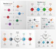 Η συλλογή ζωηρόχρωμου infographic μπορεί να χρησιμοποιηθεί για το σχεδιάγραμμα ροής της δουλειάς, διάγραμμα, επιλογές αριθμού, σχ Στοκ Εικόνες