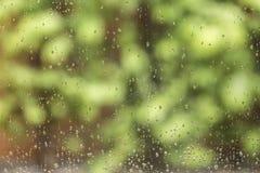 η συλλογή ρίχνει το παράθυρο βροχής φύσης Στοκ Φωτογραφίες