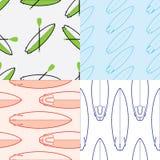Η συλλογή τεσσάρων χρωματίζει τα άνευ ραφής σχέδια σερφ Στοκ Φωτογραφία