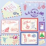 Η συλλογή των Χριστουγέννων τυλίγει, κάρτες, γραμματόσημο Στοκ Εικόνες
