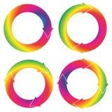 Η συλλογή φ 4 απομονωμένα κυκλικά βέλη στο χρώμα ουράνιων τόξων Στοκ Εικόνες
