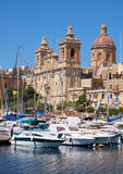 Η συλλογική εκκλησία του ST Lawrence σε Birgu, Μάλτα στοκ φωτογραφίες