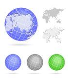 Η σφαίρα Ευρώπη και η Ασία χαρτογραφούν το μπλε εικονίδιο ελεύθερη απεικόνιση δικαιώματος