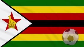 Η σφαίρα κυματισμού και ποδοσφαίρου σημαιών της Ζιμπάμπουε περιστρέφεται, βρόχος απεικόνιση αποθεμάτων