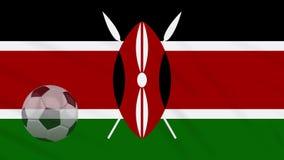 Η σφαίρα κυματισμού και ποδοσφαίρου σημαιών της Κένυας περιστρέφεται, βρόχος απεικόνιση αποθεμάτων