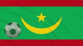 Η σφαίρα κυματισμού και ποδοσφαίρου σημαιών της Μαυριτανίας περιστρέφεται, βρόχος διανυσματική απεικόνιση