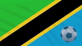 Η σφαίρα κυματισμού και ποδοσφαίρου σημαιών της Τανζανίας περιστρέφεται, βρόχος απεικόνιση αποθεμάτων