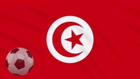 Η σφαίρα κυματισμού και ποδοσφαίρου σημαιών της Τυνησίας περιστρέφεται, βρόχος διανυσματική απεικόνιση