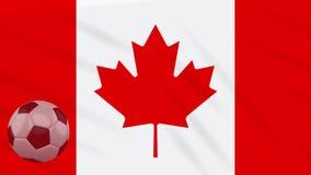 Η σφαίρα κυματισμού και ποδοσφαίρου σημαιών του Καναδά περιστρέφεται, βρόχος απεικόνιση αποθεμάτων