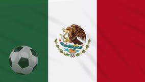 Η σφαίρα κυματισμού και ποδοσφαίρου σημαιών του Μεξικού περιστρέφεται, βρόχος διανυσματική απεικόνιση