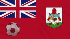 Η σφαίρα κυματισμού και ποδοσφαίρου σημαιών των Βερμούδων περιστρέφεται, βρόχος ελεύθερη απεικόνιση δικαιώματος
