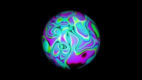 Η σφαίρα με την υγρή psychedelic επιφάνεια, αφαιρεί το τρισδιάστατο παραγμένο υπολογιστής σκηνικό διανυσματική απεικόνιση