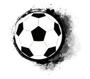 Η σφαίρα ποδοσφαίρου με το grunge γρατζουνίζει, λεκέδες μελανιού και παφλασμοί watercolor Το αντικείμενο είναι χωριστό από το υπό απεικόνιση αποθεμάτων
