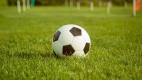 Η σφαίρα ποδοσφαίρου βρίσκεται στον τομέα χορτοταπήτων στη θερινή ημέρα πριν από το φιλικό αγώνα Στοκ Εικόνες