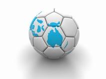 Η σφαίρα ποδοσφαίρου με την εικόνα των μερών του κόσμου τρισδιάστατου δίνει Στοκ φωτογραφίες με δικαίωμα ελεύθερης χρήσης