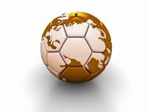 Η σφαίρα ποδοσφαίρου με την εικόνα των μερών του κόσμου τρισδιάστατου δίνει Στοκ Εικόνα