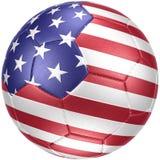 Η σφαίρα ποδοσφαίρου με τις ΗΠΑ σημαιοστολίζει photorealistic Στοκ Εικόνες