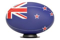 Η σφαίρα ράγκμπι με τη σημαία της Νέας Ζηλανδίας στη στάση σφαιρών, τρισδιάστατη δίνει διανυσματική απεικόνιση