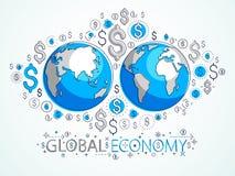 Η σφαιρική επιχειρησιακή έννοια, πλανήτης Γη με τα εικονίδια δολαρίων έθεσε, διεθνής οικονομία, ανταλλαγή νομίσματος, παγκόσμιο δ απεικόνιση αποθεμάτων