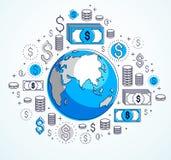 Η σφαιρική επιχειρησιακή έννοια, πλανήτης Γη με τα εικονίδια δολαρίων έθεσε, διεθνής οικονομία, ανταλλαγή νομίσματος, παγκόσμιο δ ελεύθερη απεικόνιση δικαιώματος