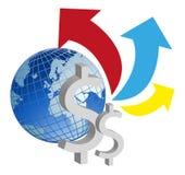 Η σφαιρική οικονομία αυξάνεται απεικόνιση αποθεμάτων
