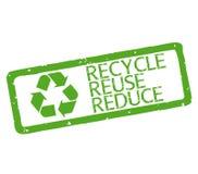 Η σφραγίδα με το κείμενο ανακύκλωσης, επαναχρησιμοποίηση, μειώνει διανυσματική απεικόνιση