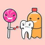 Η σόδα και lollipop φοβερίζει το δόντι Στοκ εικόνα με δικαίωμα ελεύθερης χρήσης