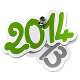 2014 εναντίον 2013 ετών. Αυτοκόλλητες ετικέττες διανυσματική απεικόνιση