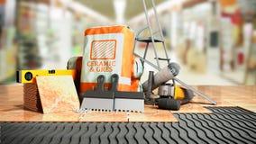 Η σύγχρονη έννοια του κεραμιδιού που βάζει τα εργαλεία και τα οικοδομικά υλικά για την τοποθέτηση των κεραμιδιών σε ένα άνισο μέρ απεικόνιση αποθεμάτων