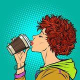Η σύγχρονη γυναίκα πίνει ένα φλιτζάνι του καφέ εγγράφου Η δεκαετία του '80 κοριτσιών διανυσματική απεικόνιση