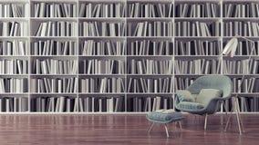 Η σύγχρονη εγχώρια βιβλιοθήκη, εσωτερικό σχέδιο τρισδιάστατο δίνει Στοκ Εικόνες
