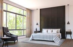 Η σύγχρονη κρεβατοκάμαρα διακοσμεί με τα καφετιά έπιπλα δέρματος και τη μαύρη ξύλινη τρισδιάστατη δίνοντας εικόνα Στοκ Φωτογραφίες