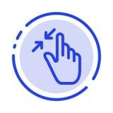 Η σύμβαση, χειρονομίες, διεπαφή, τσίμπημα, αγγίζει το μπλε εικονίδιο γραμμών διαστιγμένων γραμμών απεικόνιση αποθεμάτων