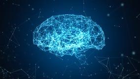 Η σύνδεση ψηφιακών στοιχείων και δικτύων του ανθρώπινου εγκεφάλου απομόνωσε στο μαύρο υπόβαθρο υπό μορφή τεχνητής νοημοσύνης για ελεύθερη απεικόνιση δικαιώματος