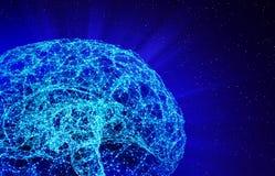 Η σύνδεση ψηφιακών στοιχείων και δικτύων του ανθρώπινου εγκεφάλου απομόνωσε στο μαύρο υπόβαθρο υπό μορφή τεχνητής νοημοσύνης για διανυσματική απεικόνιση