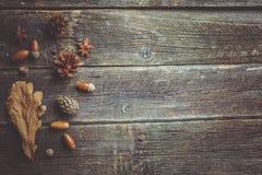 η σύνθεση κεριών φθινοπώρου μήλων ξηρά βγάζει φύλλα vase απόλυσης Πλαίσιο φιαγμένο από ξηρά φύλλα φθινοπώρου στο σκοτεινό ξύλινο  στοκ εικόνα